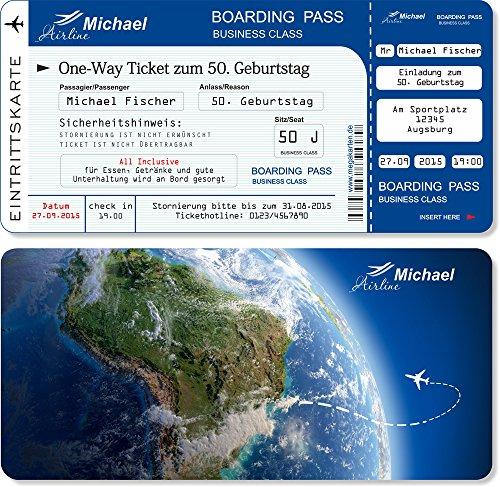 Einladungskarten zum Geburtstag als Flugticket , Abriss-Coupon Blau 30 Stück