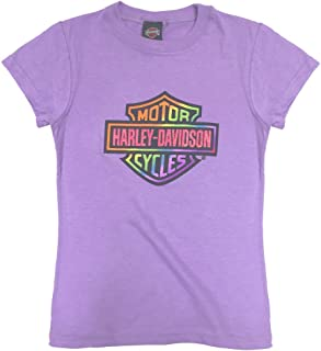 Big Girls' Glittery Rainbow B&S Short Sleeve Tee, Purple 1540659