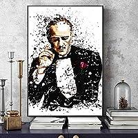 キャンバスペインティング ゴッドファーザー黒と白の水彩映画のポスターと壁の芸術の古典的な映画の絵の装飾にキャンバスの油絵を印刷します 50x75cm