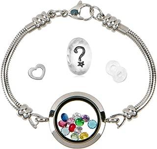 Floating Locket Charm Bracelets for Women, Fits European Bead Charms