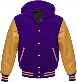 Letterman Varsity Jackets Gold Leather Sleeves with Hood - 9 Colours - Sizes XS to 3XL