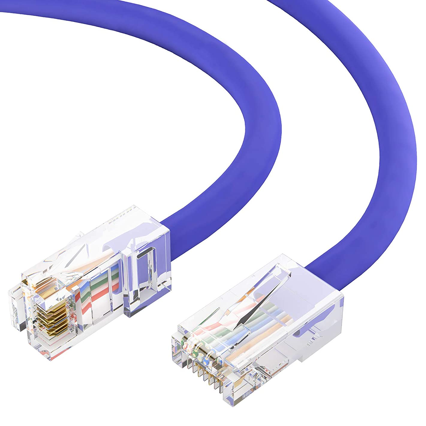 GOWOS Cat6 Ethernet Cable (3 Feet - Purple) 24AWG Network Cable with Gold Plated RJ45 Non-Booted Connector - High Speed LAN Internet/Patch Cable for PC/PS4/Xbox - ETL Listed