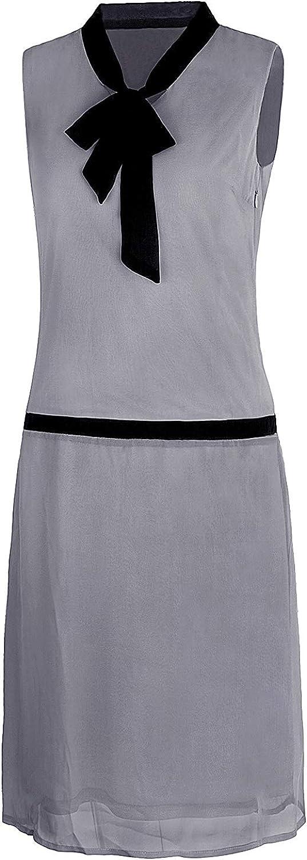 VIJIV Womens depot 1920s Midi Flapper Dress Roaring Neck Grey Los Angeles Mall V Bow 20