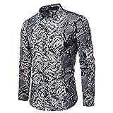 Men's Shirt Snake Print Men's Lapel Long Sleeve Shirt(S-2XL) Gray