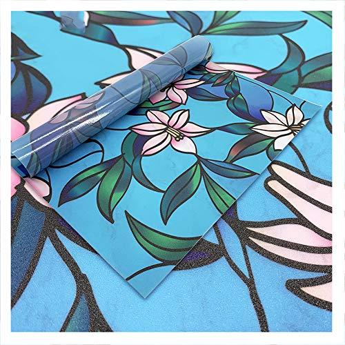 Película de Vidrio de Paisaje Etiqueta de Ventana de privacidad esmerilada Adhesivo Decorativo Sin Pegamento Pegatinas de Ventana extraíbles (11.81 x 39.37nch) 1 Pieza.