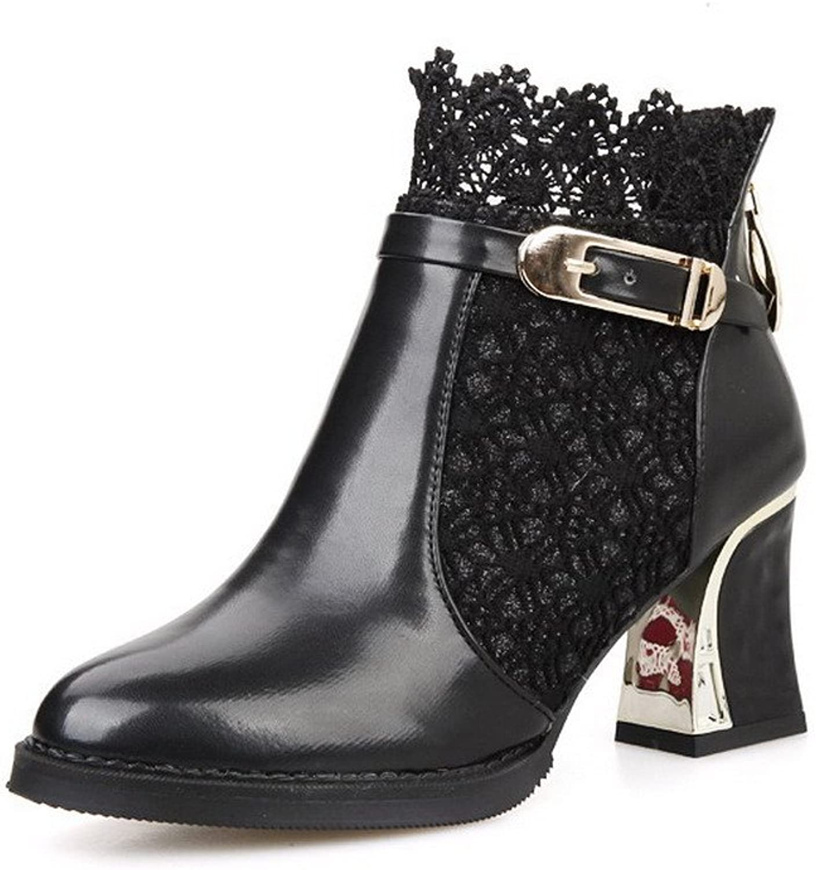 AmoonyFashion Women's Closed-Toe Pointed-Toe Kitten-Heels Boots Lace Metal Heels