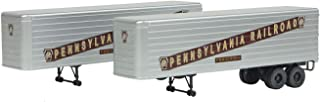 35' Fluted-Side Trailer 2-Pack - Assembled -- Pennsylvania Railroad (silver, Tuscan)