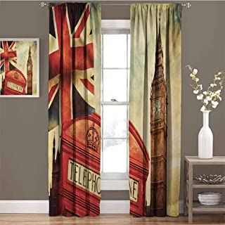 GUUVOR London for Bedroom Blackout Curtains Vintage Style Symbols of London with National Flag UK Great Britain Old Clock Tower Blackout Curtains for The Living Room W54 x L84 Inch Multicolor