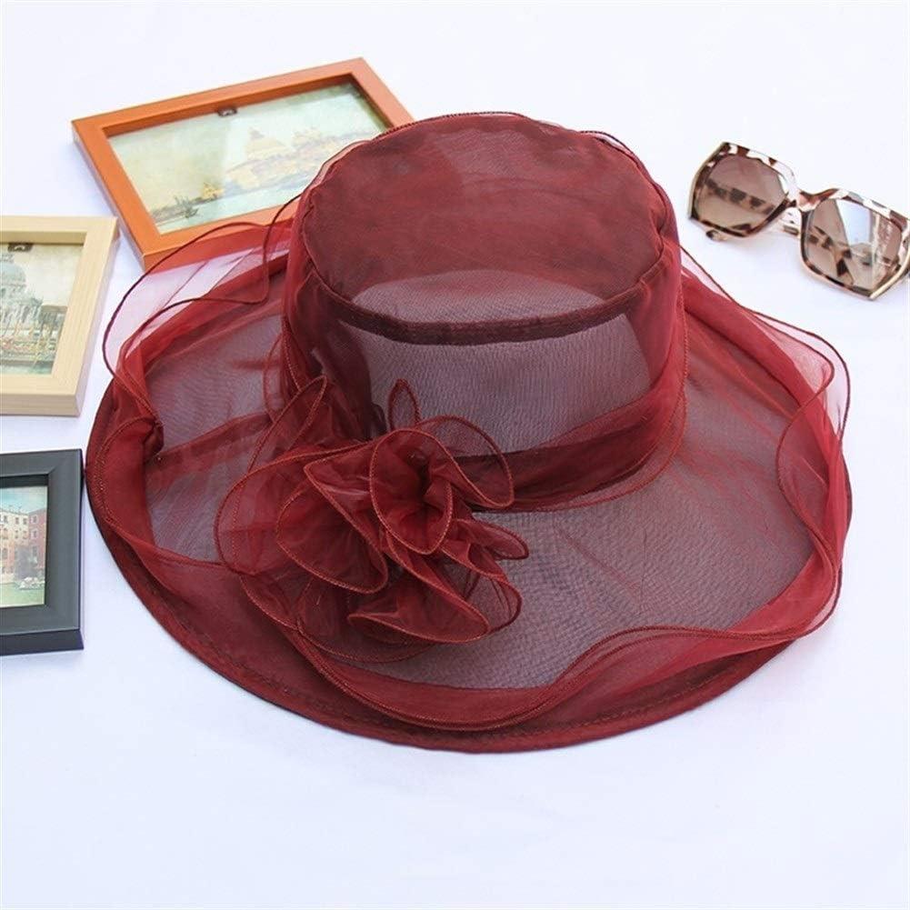MAIZ Sun Hats Women's Organza Church Kentucky Derby Fascinator Bridal Tea Party Wedding Hat Lady Church Hats Women Ruffles Wedding Hat,7 Colors (Color : Burgundy)