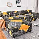 ASCV Fundas de sofá Chaise Longue para Sala de Estar Fundas elásticas para sofá Fundas elásticas en Forma de L de Esquina Funda de sofá A6 4 plazas