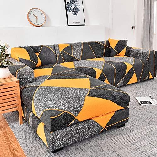 ASCV Fundas de sofá Chaise Longue para Sala de Estar Fundas elásticas para sofá Fundas elásticas de Esquina en Forma de L Funda de sofá A6 3 plazas