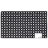 JVL Rondo Rubber Ring Heavy Duty Outdoor Contract Door Mat, Black, 50 x 100 cm