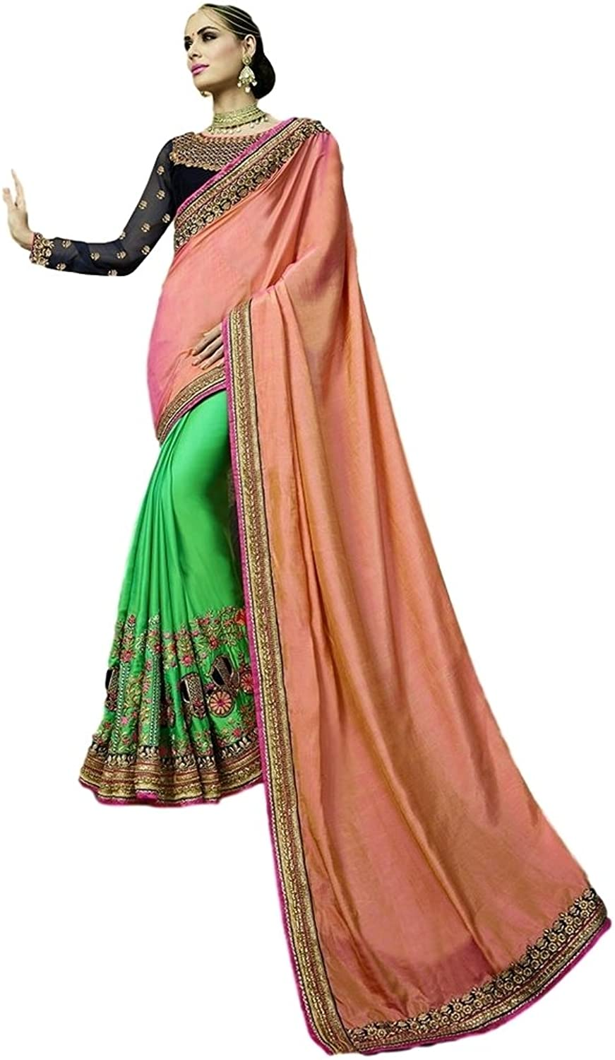 EthnicWear Green Peach PartyWear Designer Hot Selling Half n Half Crape Silk Stone Work Party Wedding Saris