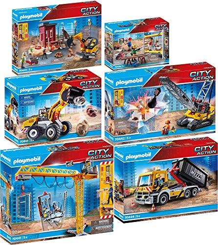 PLAYMOBIL® City Action Juego de 6 Piezas 70441 70442 70443 70444 70445 70446 Grúa RC + Excavadora + Mini Excavadora + Camión + Cargadora Frontal + Andamio con Obreros