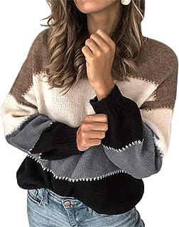 De Las Mujeres Invierno Caliente Pullover Jumper, Otoño Invierno suéter Manga Larga, rayó Flojo Jersey de Punto Remiendo T...