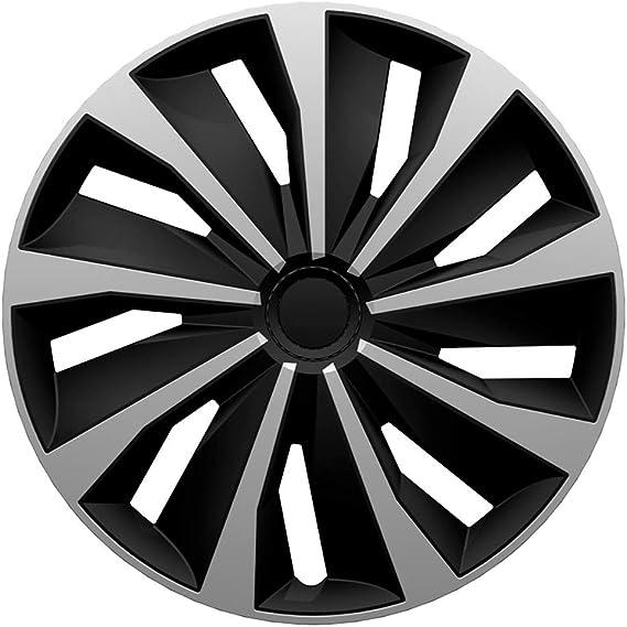 Satz Radzierblenden Grip 14 Zoll Silber Schwarz Auto