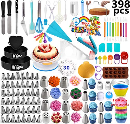 Cake Decorating Supplies 2020 Upgrade 398 PCS Baking Set with Springform Cake Pans Set,Cake Rotating Turntable,Cake Decorating Kits, Muffin Cup Mold, Cake Baking Supplies for Beginners and Cake Lovers