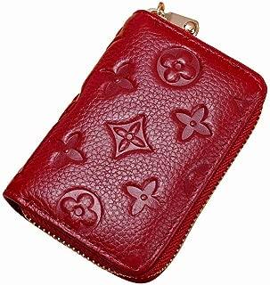 Women RFID Blocking Credit Card Holder Leather Cute Small Zipper Wallet