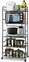 Multifunctional Kitchen Storage Rack Storage Shelf 5-Tier Kitchen Shelf 304 Stainless Steel Floor-Standing Holader Adjusta...