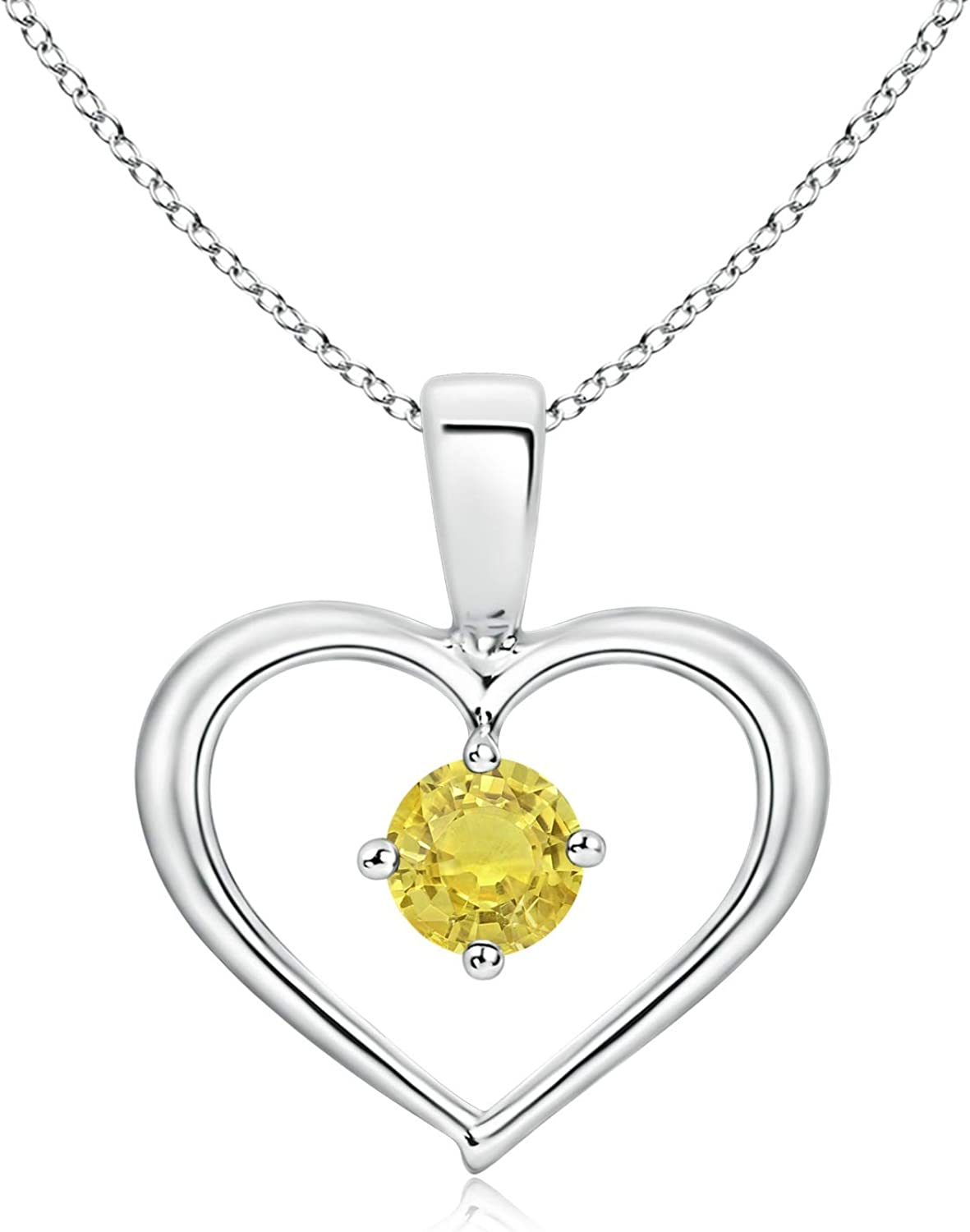 Solitaire Round Max 50% OFF Yellow wholesale Sapphire Open 4mm S Heart Pendant