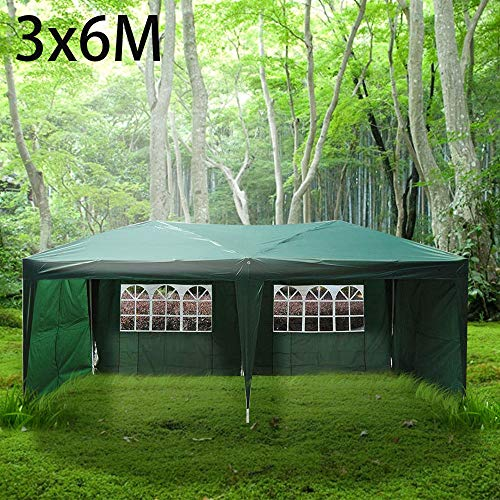 3x6M Garden Folding Gazebo Marquee Party Tent Wedding Portable Garage Carport Shelter Car Canopy Outdoor Steel Frame Waterproof Rot Resistant Extra Stability Green with Removable Side Wall