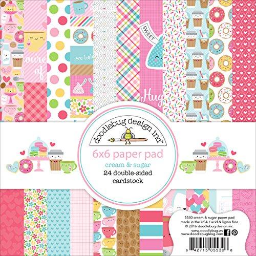 Doodlebug Cream & Sugar Paper Pad 6x6 Doppelseitiger Papierblock, Nicht zutreffend, Mehrfarbig, 0.6 x 15.24 x 15.24 cm