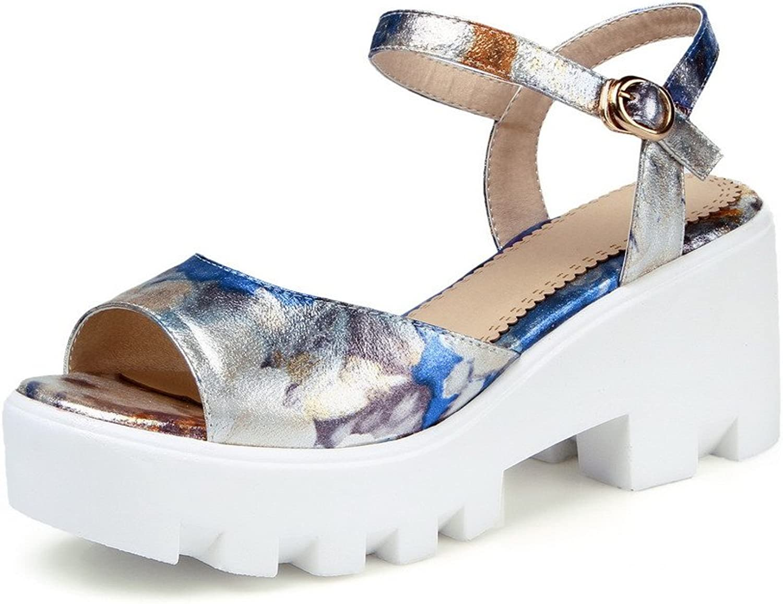 AmoonyFashion Women's Buckle High Heels PU Solid Open Toe Sandals