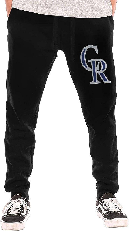 Thorea Men's Casual coloradoRockiesCap Active Jogger Sweatpants Black