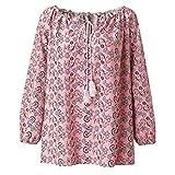 Women Retro Print Blouses Loose Beach Shirt Long Sleeve Tunics Tops Autumn Boho T Shirt Tees Tops Siwm Cover Ups (Pink, L)