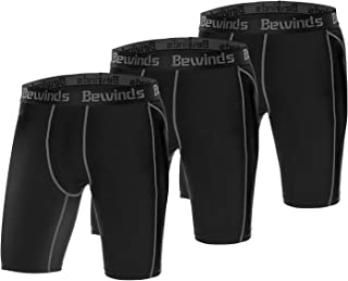 Bewinds Men's Compression Shorts 3 Pack Athletic Underwear for Workout,Running,Training,Football