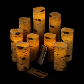 """Antizer Flameless Candles Battery Operated Candles Birch Bark Effect 4"""" 5"""".."""