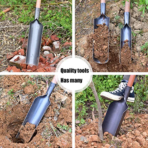 LXFMZ Gardening Tool Quality Steel Shovel with Metal Digging Spade, Multi-Use Shovel for Digging, Farm Garden Steel Gardening Soil Spade,Metallic,4512.5cm