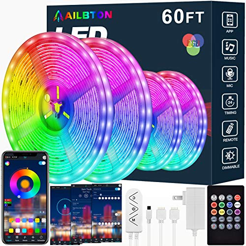 Led Strip Lights,60ft Led Light Strip Music Sync Color Changing RGB Led Strip Built-in Mic,Bluetooth App Control LED Tape Lights with Remote,5050 RGB Rope Light Strips (APP+Remote+Mic+3 Button)