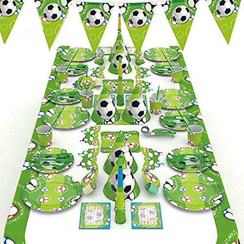 Finsink Party Set Partygeschirr Geburtstagsset 90-Teiliges Party-Set Fußball Junge