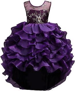 Zhhlinyuan ファッション Girls Ruffle Sequins Flower Princess ドレス Kids Party Pageant Wedding Bridesmaid Tutu Dresses
