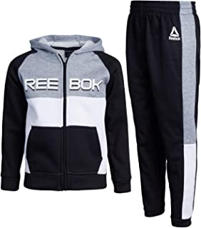 Boys' 2-Piece Athletic Fleece Tracksuit Set with Zip Up Jacket and Jog Pants