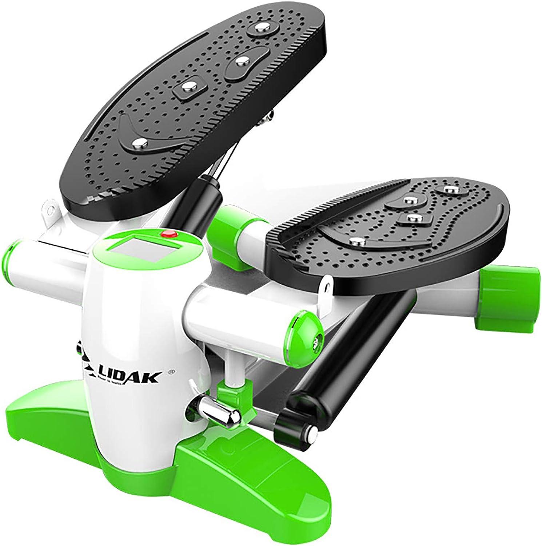 Hxyt Aerobic-Stepper, Home-Mute-Swing-Stepper-Multifunktions-einstellbare hydraulische Mini-Laufflchenseil-Fitness-Gewichtsabnahme für Zuhause und Büro,Grün