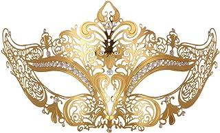 NUOBESTY Máscara de Mascarada de Encaje, Metal, Diamantes de imitación, máscara Veneciana para Mujer (Dorado)