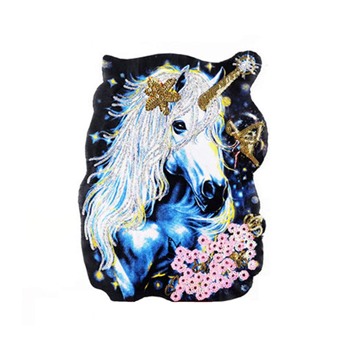 DIY Embroidered Large Unicorn Horse Sequins Patches, Sew On Patch Applique Clothes Dress Plant Hat Jeans Sewing Unicorn Horse Applique