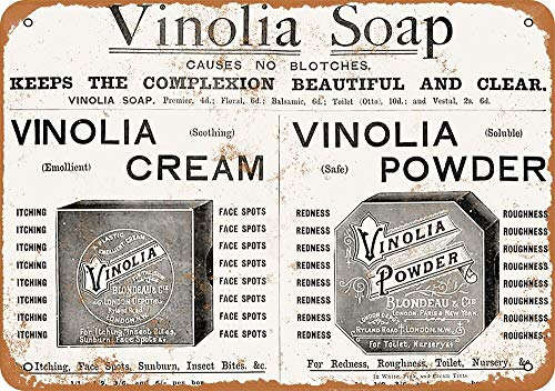 Letrero de metal, 1898 Vinolia Creams and Powders - Cartel de lata con aspecto vintage, 30,5 x 20,3 cm, decoración de pared para el hogar
