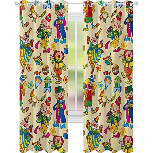 Cortinas para dormitorio, diseño de carnaval de circo con motivos festivos, personajes de baile, juguetes de payasos, entretenimiento, cortinas de 52 x 63 para guardería, multicolor