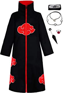 KuKiee Unisex Long Ninja Robe Akatsuki Cloak Halloween Cosplay Costume Uniform