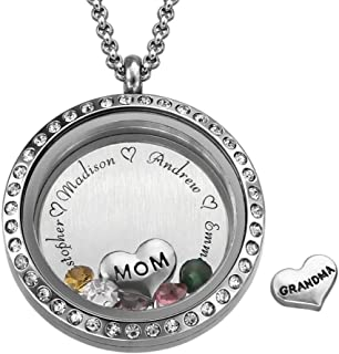 MyNameNecklace Floating Charms Engraved Locket- Jewelry Gift for Mom Personalized with Birthstones or Love You Forever Inscription