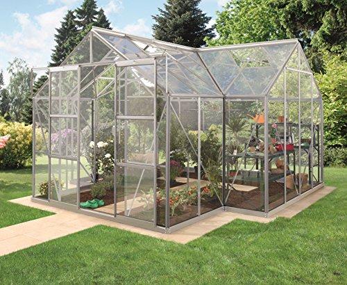 Gartenwelt Riegelsberger Gewächshaus Sirius Orangerie - ESG 3 mm Alu, Fläche: ca. 13 m², mit 4 Dachfenster, inkl. Stahlfundament 6 cm hoch, Sockel: 3,81 x 3,81 m