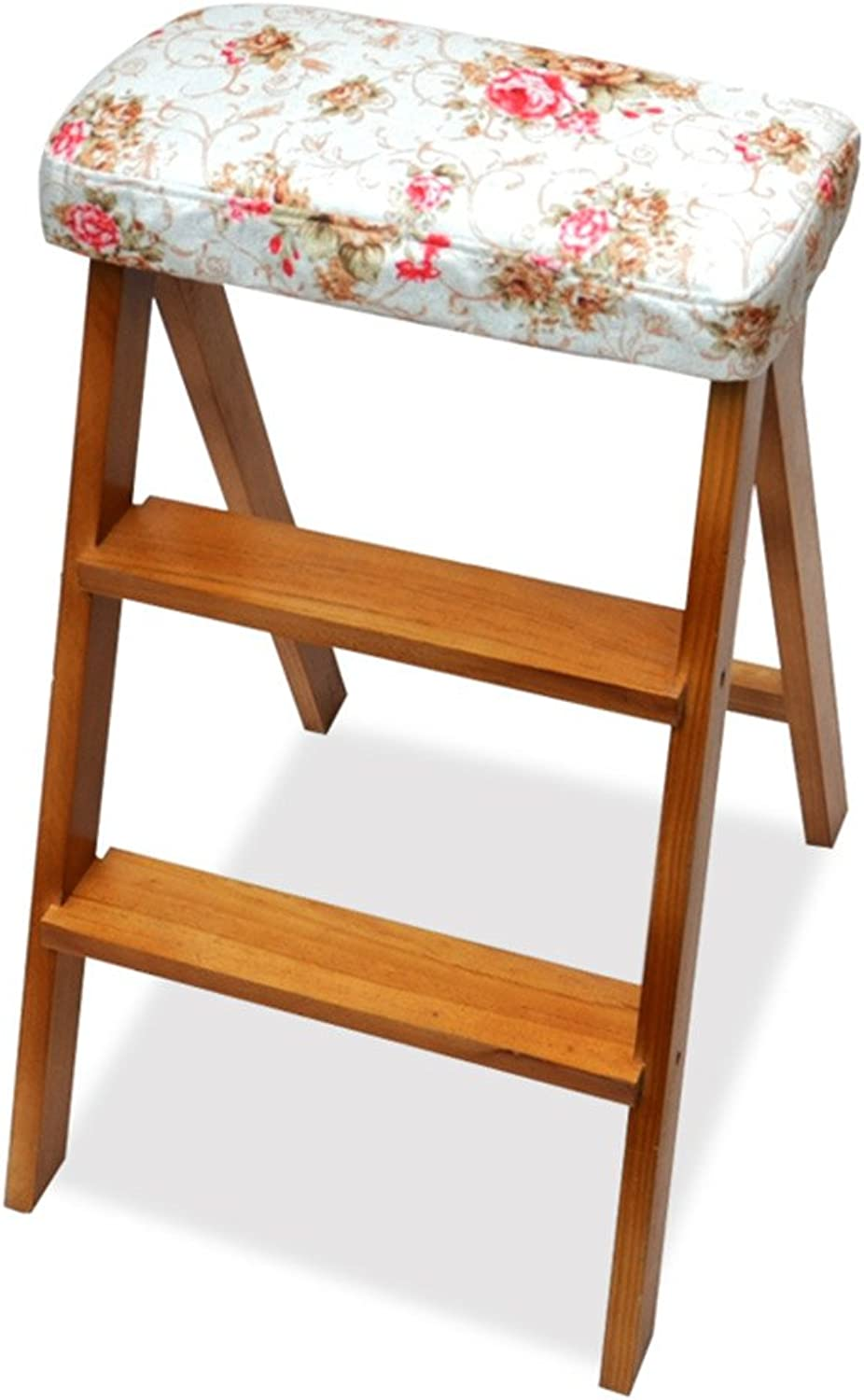 ZPWSNH Kitchen Ladder Stool Folding Ladder Chair Multifunctional Portable Home High Wooden Stool Step Stool (color   E)