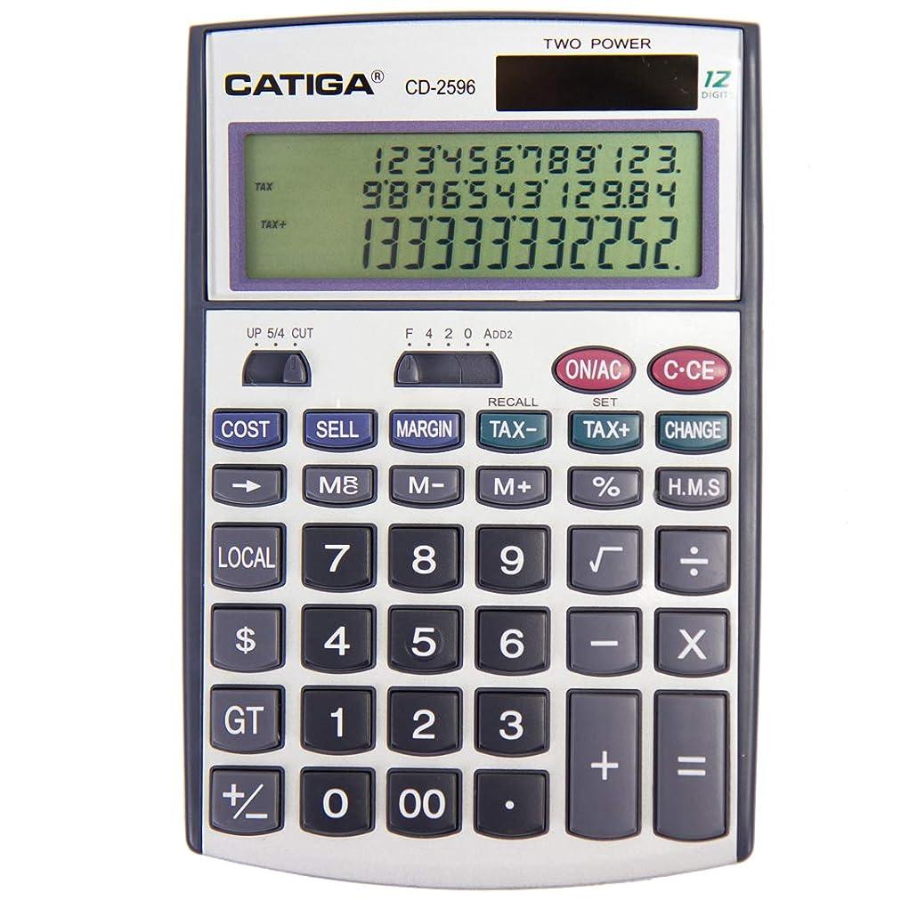 毒液なんとなく助言するCatiga CD-2596 3本線電卓 12桁 XLサイズ ビジネス/家庭用