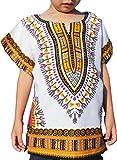 RaanPahMuang Unisex Bright African White Children Dashiki Cotton Shirt, 8-10 Years Tall, Orange Peel White