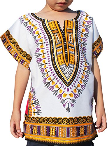 Raan Pah Muang RaanPahMuang Unisex Bright African White Children Dashiki Cotton Shirt, 10-12 Years, Orange Peel White