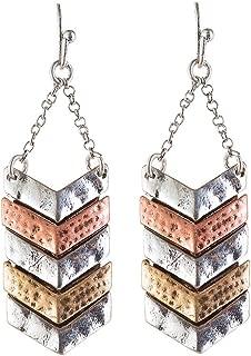 Tri-Tone Chevron Metal Bar Dangle Earrings