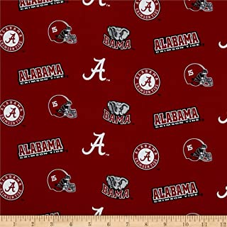 Sykel Enterprises Collegiate Cotton Broadcloth University of Alabama Fabric by The Yard, Multi